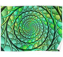 Green Spiraling Roots  Poster