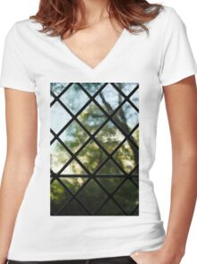 Medieval Window, Sunny Garden Outside Women's Fitted V-Neck T-Shirt