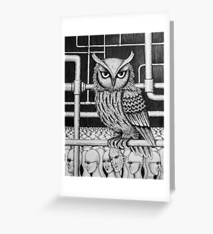 Urban Owl surreal pen ink black and white drawing Greeting Card