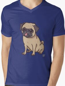 PUG (blue) Mens V-Neck T-Shirt