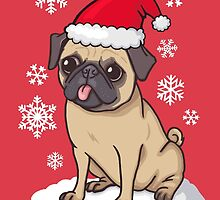 Christmas Pug (red) by Ben Farr