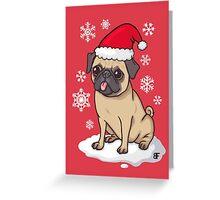 Christmas Pug (red) Greeting Card