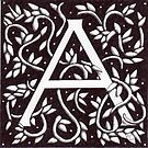 William Morris Inspired Letter A# 3 by Donna Huntriss