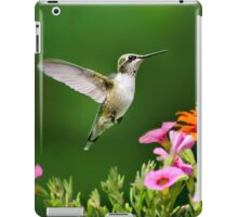 Hummingbird Flying with Colorful Flowers iPad Case/Skin
