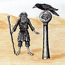 End of the Journey surreal pen ink color pencil drawing by Vitaliy Gonikman