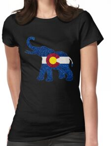 Glitter Colorado flag elephant Womens Fitted T-Shirt