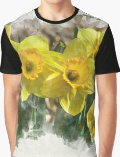 Spring Daffodils Watercolor Art Graphic T-Shirt