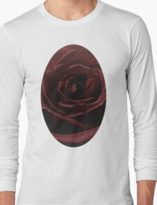 Textured Red Rose Long Sleeve T-Shirt