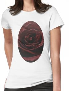 Textured Red Rose Womens Fitted T-Shirt