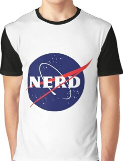 NASA Nerd Logo Parody Graphic T-Shirt
