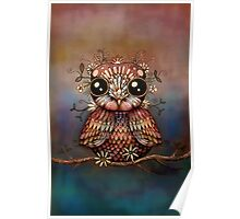 little rainbow flower owl Poster