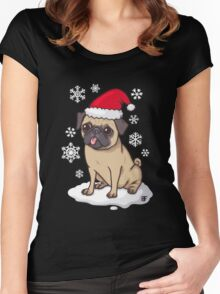 Christmas Pug (blue) Women's Fitted Scoop T-Shirt