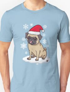Christmas Pug (blue) Unisex T-Shirt