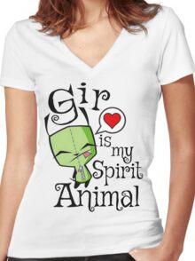 Gir is my Spirit Animal Women's Fitted V-Neck T-Shirt