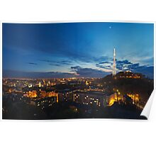 Night view on High Castle Hill, Lviv Poster