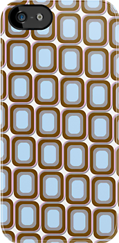 That 70's Design - Brown Grey Blue on White Background by Bryan Freeman