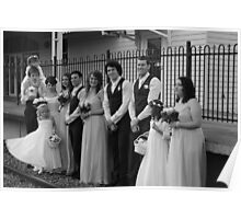 wedding group in b/w at train station Poster