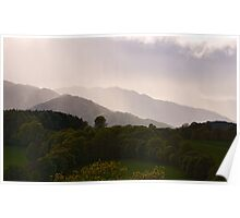 Rays on Misty Mountains Poster