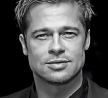 Brad Pitt Digital Portrait by David Alexander Elder