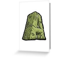 "Abysmal Alphabet - Deluxe - ""A"" - Green Greeting Card"