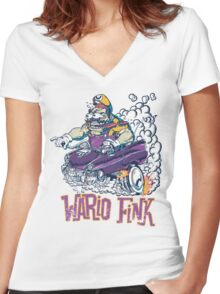 Wario Fink w/Text Women's Fitted V-Neck T-Shirt