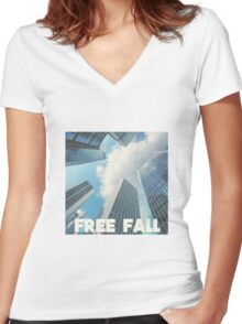FREE FALL Women's Fitted V-Neck T-Shirt