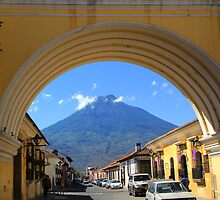 Arch and Volcano in Antigua, Guatemala by Peggy Berger
