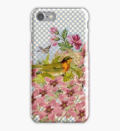 Vintage pink flowers gold red bird polka dots  iPhone Case/Skin