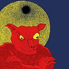 Red Cat Demon up to no good under a bad moon by SusanSanford