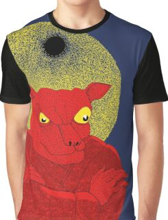 Red Cat Demon up to no good under a bad moon Graphic T-Shirt