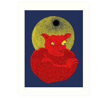 Red Cat Demon up to no good under a bad moon Art Print