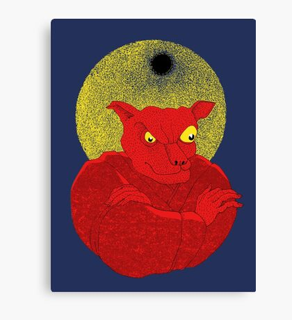 Red Cat Demon up to no good under a bad moon Canvas Print