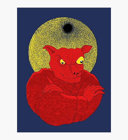 Red Cat Demon up to no good under a bad moon Photographic Print