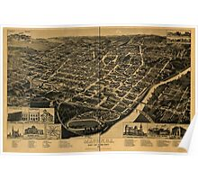 Panoramic Maps Macon Ga county seat of Bibb County 1887 Poster