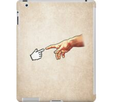 Funny 8bit Nerd & Geek Humor (Creation of Adam Parody) iPad Case/Skin