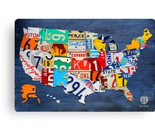 License Plate Map of The United States 2012 on Blue Canvas Print