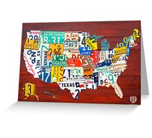 License Plate Map of The United States 2012 Red Version Greeting Card
