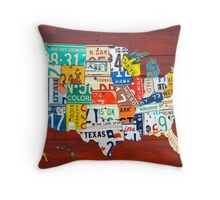 License Plate Map of The United States 2012 Red Version Throw Pillow