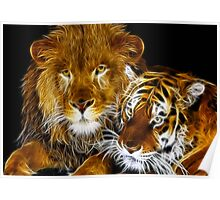 AMAZING FRACTAL LIGHT LION AND TIGER Poster