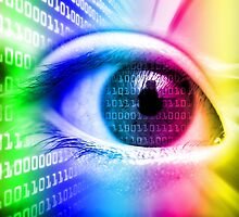 ON THE NET SPECTRUM COLORS BINARY EYE GRAPHIC DESIGN by Christopher McCabe