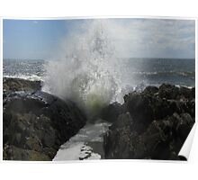 Wave at Spouting Rock Poster