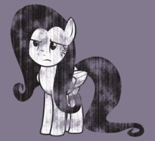 Fluttershy Weathered Black & White by ZincSpoon