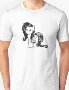 Fluttershy Weathered Black & White T-Shirt