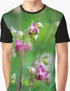 Pink Columbine Flowers Graphic T-Shirt