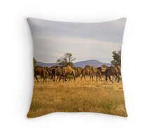 Camel Herd Throw Pillow