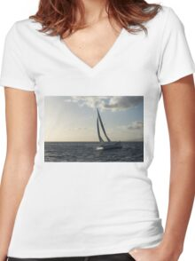 Sailing Towards the Sunlight Women's Fitted V-Neck T-Shirt