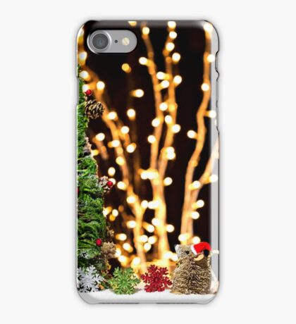 Christmas Tree Santa Mouse Vintage Rustic iPhone Case/Skin