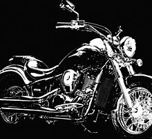 BLACK AND WHITE KAWASAKI VN900 MOTORCYCLE by Christopher McCabe
