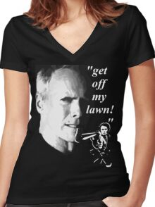 get off my lawn t-shirt Women's Fitted V-Neck T-Shirt