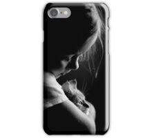 Little child girl hugging kitty iPhone Case/Skin